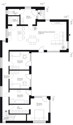Decorating Your American Bungalow Style House 2 Bedroom House Plans, New House Plans, Modern House Plans, Small House Plans, House Floor Plans, Home Building Design, House Design, L Shaped House, Long House