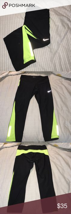 NIKE DRI-FIT CROPS Neon yellow and black. Back zip pocket, mid calf length. Great condition. No stains or tears. Nike Pants