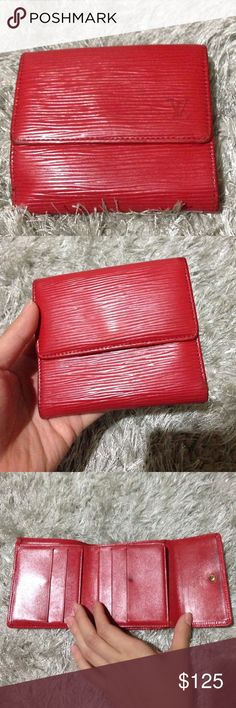 Authentic Louis Vuitton Red Vintage wallet Used. 100% authentic Louis Vuitton red wallet. It got a lot of wear and tear. Still usable. Please also checkout my other items. Louis Vuitton Bags Wallets