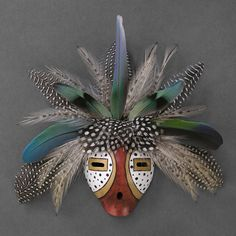 Wright's Indian Art: Speckled Feather Gourd Mask by D. Native American Masks, Native American Pottery, African Masks, African Art, Navajo Art, Ceramic Mask, Mask Painting, Arte Tribal, Painted Gourds