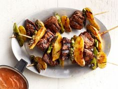 Enjoy a steak-and-potato dinner--on a stick! The buttery fingerling potatoes and tangy balsamic steak sauce make an irresistible combination in these Steak-and-Potatoes Kebabs.