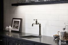 An ideal bar setup for the amateur mixologist, the Strive sink and Artifacts faucet duo combine to simplify drink prep and cleanup.