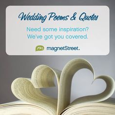 Browse our list of quotes for wedding invitations! Read romantic poems and love quotes for invitations, save the dates, and other wedding stationery.