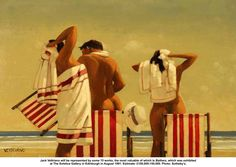 Vettriano - bathers on the beach