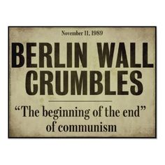 Berlin Wall Falls Newspaper Headline Poster