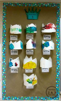 Preschool birthday wall - remove the crown when it's that child's birthday and replace with a photo of the chid wearing the crown. This is a great visual for who has had a birthday and who is still waiting. Great idea!
