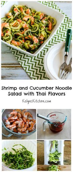When it's hot, hot weather you'll love this Shrimp and Cucumber Salad with Thai Flavors. Toss the salad with the spicy Thai dressing right before you serve it so the noodles stay crisp! #LowCarb #GlutenFree [from KalynsKitchen.com]