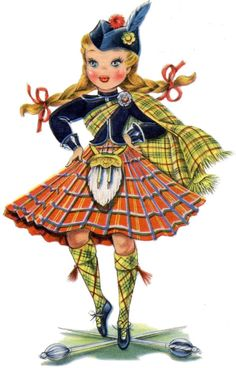 "Adorable Retro Scottish Doll Image! - The Graphics Fairy she is wearing a ""McMillan Plaid"" on her legs and her wrap."