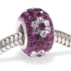 STERLING SILVER CRYSTAL PAVE LARGE HOLE EUROPEAN STYLE BEAD 12X75MM AMETHYST FLOWER from beadaholique.com