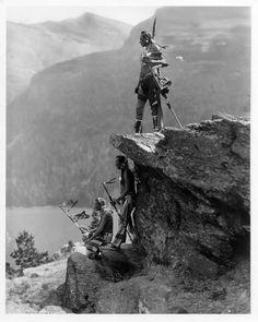 """""""The Eagle"""" Piegan/Blackfoot men, Glacier NP. Photo by Roland Reed, ca. 1913"""