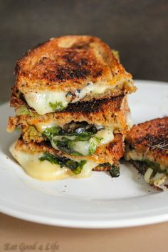 because goodness. Grilled provolone cheese sandwich with fresh spinach and pesto from eatgood4life.com