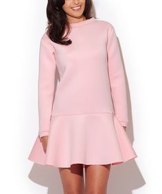 Look what I found on #zulily! Katrus Pink Long-Sleeve Drop-Waist Dress by Katrus #zulilyfinds