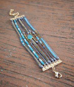 Blu bracciale strato mix Boho bracciale braccialetto di
