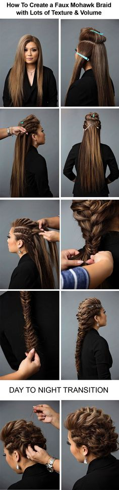 Day to Night Hairstyle | Mohawk Braid into Fishtail Bun