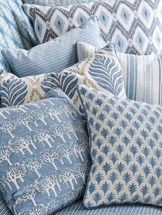 Fabrics from the Jane Churchill Eden Collection Three Color Combinations, Zeina, Blue Cushions, Textiles, Elegant Homes, Fabric Wallpaper, Linen Bedding, Comforter, Soft Furnishings