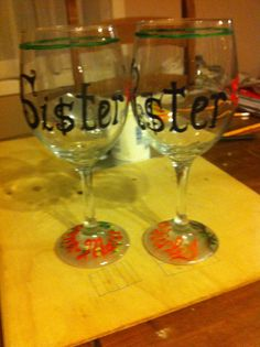 Sisters wine glasses Wine Glass, Sisters, Glasses, Tableware, Painting, Eyewear, Eyeglasses, Dinnerware, Tablewares