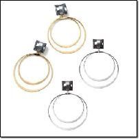 *Photon Mart* - Double Hoop Drop Earrings - Avon - Goldtone or Silvertone  Use your photons here!  Faux stone. Pierced.  Your Choice - Silvertone or Goldtone  Please indicate your choice of goldtone or silvertone earrings in the comment section. Than...