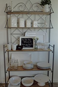 Switched my baker's rack over to all white decor. Had most of it but purchased a few pieces. So fresh for spring.