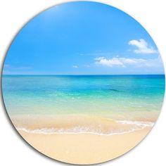 DesignArt Seashore Disc 'Blue Waters Below Blue Sky' Photographic Print on Metal Size: