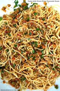 Perfect dish for Thanksgiving Eve - Pasta with Green Olive Tapenade Sauce {+ Colorful Basket Idea} ReluctantEntertainer.com
