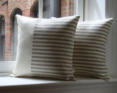 Colorblock Pillow Cover in Stone Grey & by JillianReneDecor