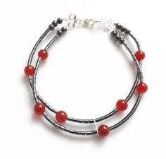 Hematite And Red Agate Bracelet £14.00