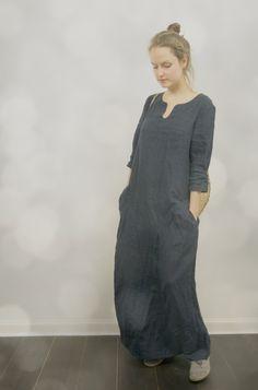 Long Linen Dress in Dark Blue by KnockKnockLinen on Etsy