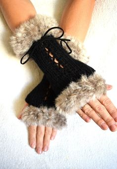 Fingerless Corset Gloves Women Wrist Warmers Black Beige Mink Light Brown with Suede Ribbons Victorian Style Hand Knit - women gloves fashion Crochet Fingerless Gloves Free Pattern, Crochet Mitts, Fingerless Gloves Knitted, Crochet Granny, Wrist Warmers, Hand Warmers, Striped Gloves, Gloves Fashion, Diy Clothing
