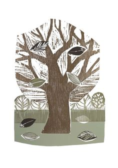 Tree on the Green by SamGroomPrintmaker on Etsy Sam Groom, Brown And Grey, Reddish Brown, Different Seasons, Silk Screen Printing, North Yorkshire, Friend Wedding, Sheffield, Pale Pink