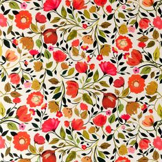 Red Tulips Wallcovering Autumn - Clarke & Clarke