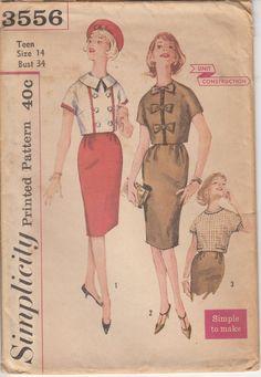 Vintage 50s UNCUT JIFFY Sewing Pattern Teen BLOUSE & SKIRT by HoneymoonBus, $13.99