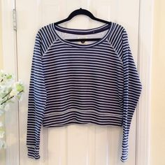 "Cotton On Striped Crop Sweater Size M. Perfect condition. NWOT. Length 18"". Cotton On Sweaters Crew & Scoop Necks"
