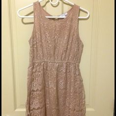 tan lace dress tan lace dress. great length with under dress, not sheer at all delia's Dresses Mini