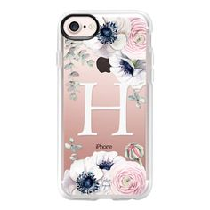 Blossom Love Monogram by Nature Magick - Letter H - iPhone 7 Case And... (140 PLN) ❤ liked on Polyvore featuring accessories, tech accessories, iphone case, clear flower iphone case, flower iphone case, clear iphone case, apple iphone case and initial iphone case