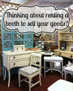 How to rent an antique booth space to sell your goods. Vintage vendor advice from Girl in the Garage booth displays the farm Tips for how to rent an antique booth space to sell your goods Antique Booth Displays, Antique Mall Booth, Antique Booth Ideas, Vintage Booth Display, Flea Market Displays, Flea Market Booth, Flea Markets, Store Displays, Window Displays