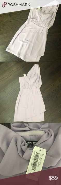NWT Gianni Bini Lilac One Shoulder Mini Dress So pretty! Gianni Bini one shoulder dress in lilac purple. In person, the color looks more like the lilac in the photos that I am modeling the dress, not the first few pics. Size XS, true to size. NWT. Gianni Bini Dresses One Shoulder
