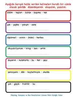 ODYOLOG, KONUŞMA ve SES BOZUKLUKLARI UZMANI PELİN KİŞİOĞLU KALAN: KELİMELERDEN KURALLI CÜMLE OLUŞTURMA ETKİNLİĞİ Turkish Language, Speech Therapy, Sarcasm, Math, Learning, Speech Pathology, Speech Language Therapy, Speech Language Pathology, Math Resources