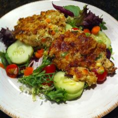 Quinoa cakes over salad from a Trader Joe's recipe!