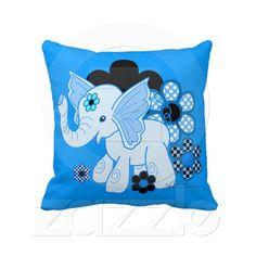 Kawaii Elephant Blue Throw Pillow. $59.95