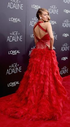 Blake Lively wearing a red leather and lace Monique Lhuillier gown at the Age of Adaline premiere.