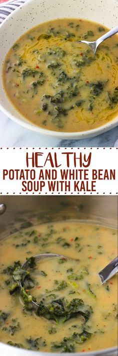 This healthy potato and white bean soup with kale is thick and creamy, while being dairy-free. This soup recipe is packed with nutritious ingredients!