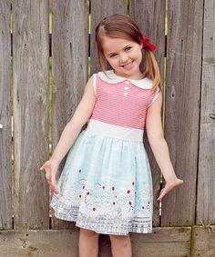 Red & Blue City Skyline Dress - Toddler & Girls