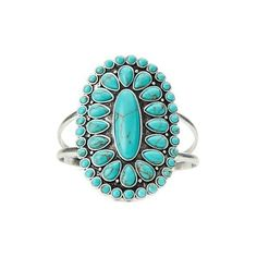 Turquoise Set Stone Cuff ❤ liked on Polyvore