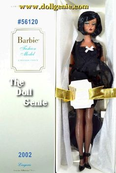 The Barbie Fashion Model Collection unveils its first-ever African American Silkstone doll, the fifth Lingerie Barbie doll. Her enchanting ensemble begins with a delicate black merry widow bustier with pink bow accent. Her matching robe offers alluring cover. Golden hoop earrings and high heels complete this simple but elegant ensemble, perfect for dress-and-play fun!