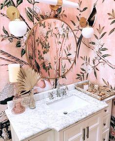 Small Bathroom Wallpaper, Bathroom Accent Wall, Bathroom Design Small, Bathroom Wall Decor, Bathroom Interior Design, Bathroom Ideas, White Bathroom, Bathroom Wallpaper Inspiration, Pastel Bathroom