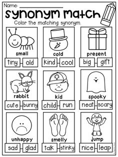 Synonym worksheet for kindergarten and first grade. Students color the synonym that matches the picture. First Grade Worksheets, School Worksheets, Worksheets For Kids, Kindergarten Worksheets, Synonym Activities, Synonym Worksheet, Montessori Activities, Synonyms And Antonyms, Teaching Synonyms