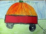 Pumpkins in a Wagon     Kindergarteners learned how to shade a pumpkin, using a light and a dark orange to create depth. In a directed drawing, shapes are also emphasized!  (lesson plan on website)