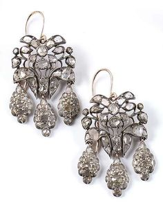 A pair of diamond earrings, Southern Europe, 2nd half of 18th century