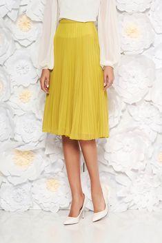 StarShinerS lightgreen elegant cloche skirt with medium waist voile fabric folded up, inside lining, voile fabric, folded up, side zip fastening