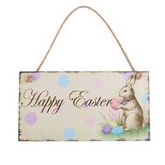 Happy Easter Plaque Wooden Rabbit Hanging Plaque Festival Wall Door Decorative Sign Hanger
